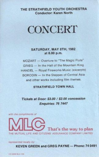 1982 Strathfield Youth Orchestra poster